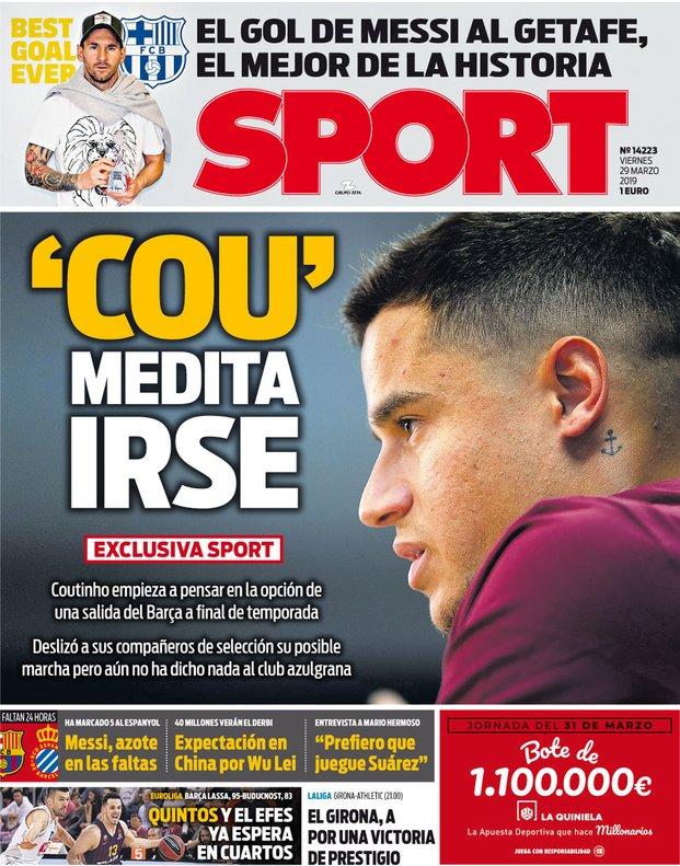 每体头版:库蒂尼奥考虑今夏离开巴萨,已告诉巴西队友