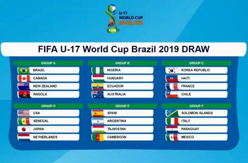 2019年U17世界杯分组:日本种子队,与荷兰美国同组
