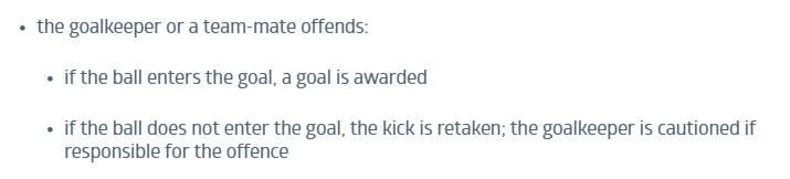 新规中明确规定若门将违规,点球将重罚