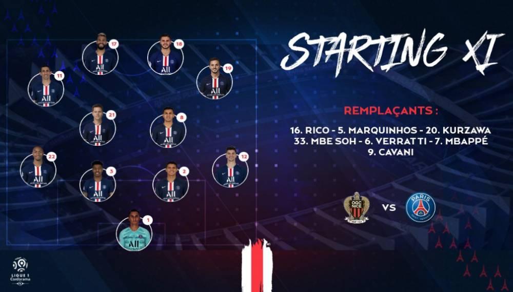 巴黎vs尼斯首发:伊卡尔迪先发 姆巴佩、卡瓦尼替补