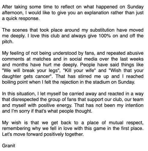 扎卡发声明致歉:一直遭受恶意人身攻击,球迷嘘声让我失去理智