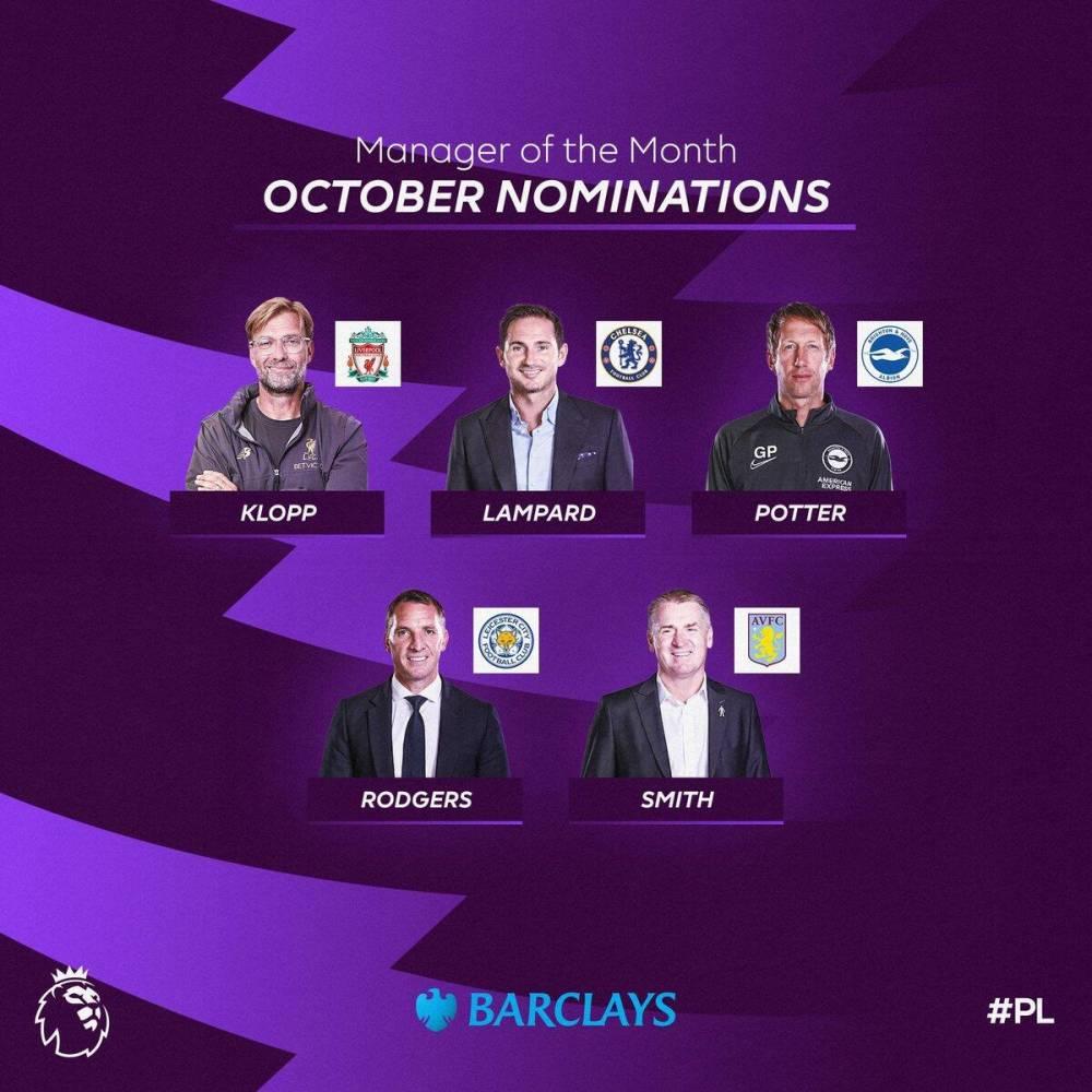 英超10月最佳教练候选:克洛普、兰帕德在列,罗杰斯入选