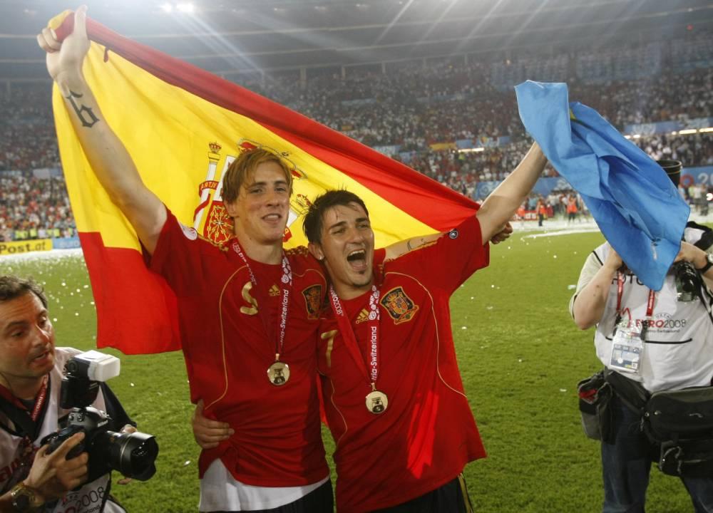 老照片:V7T9,那年欧洲杯的比利亚与托雷斯