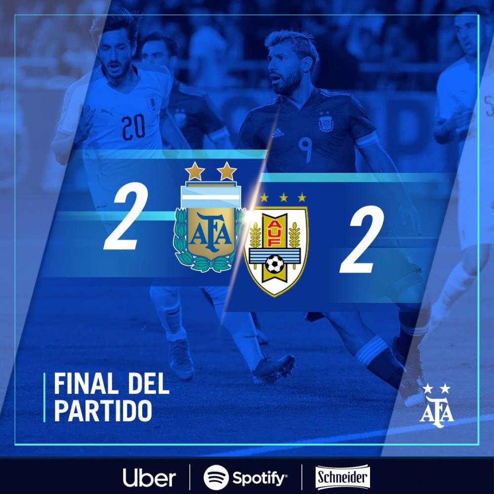 热身赛-梅西传射+点射绝平苏牙传射_阿根廷2-2乌拉圭