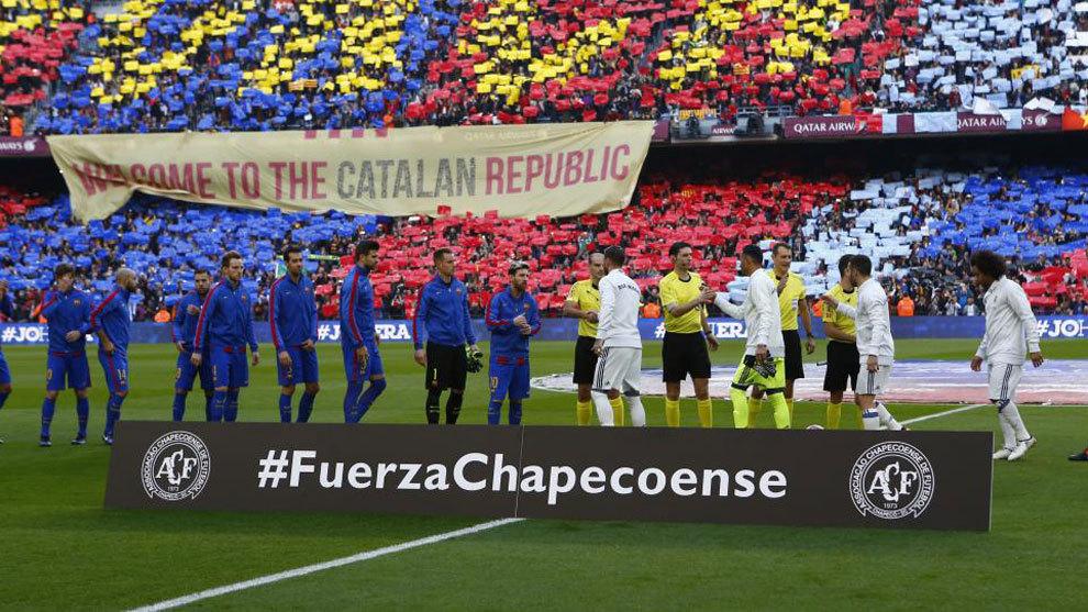 加泰独立组织想在国家德比中展示标语:西班牙,坐下来谈判