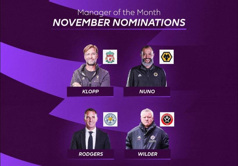 英超11月最佳教练候选:渣叔、罗杰斯领衔,努诺、怀尔德在列