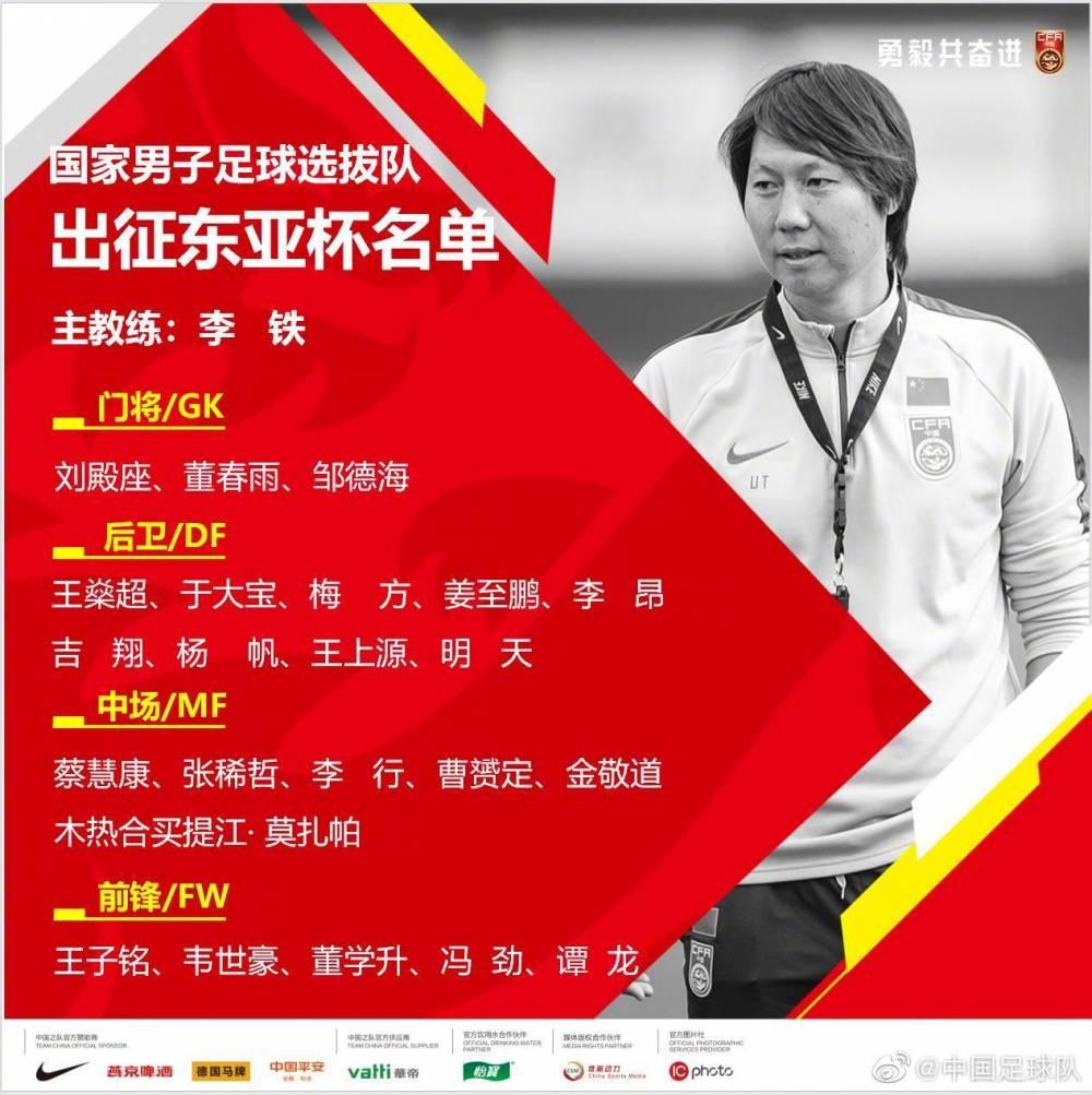 国足东亚杯大名单:韦世豪、曹赟定入选,谭龙、于大宝在列