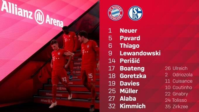 拜仁vs沙尔克首发:莱万、基米希首发,库鸟、奥德里奥索拉替补