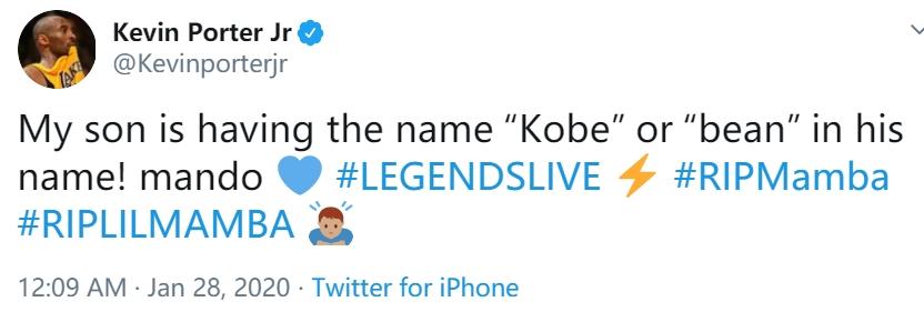 小凯文-波特:我儿子的名字将会有科比或者比恩