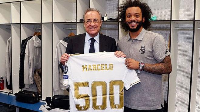 马卡:里程碑! 马塞洛获赠皇马500场纪念球衣