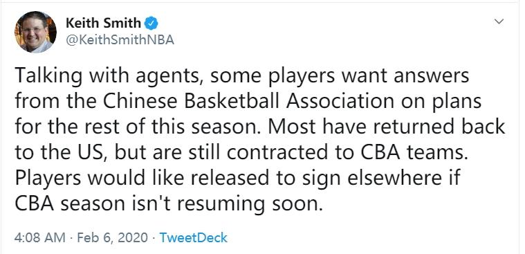 美记:如果<a href=http://www.zuqiu.com/live/CBA/ target=_blank class=infotextkey>CBA</a>联赛不会很快恢复,一些球员希望在其他地方签合同