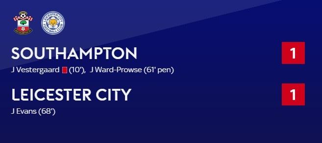 英超-沃德-普劳斯点射埃文斯破门 10人南安普顿1-1莱斯特城