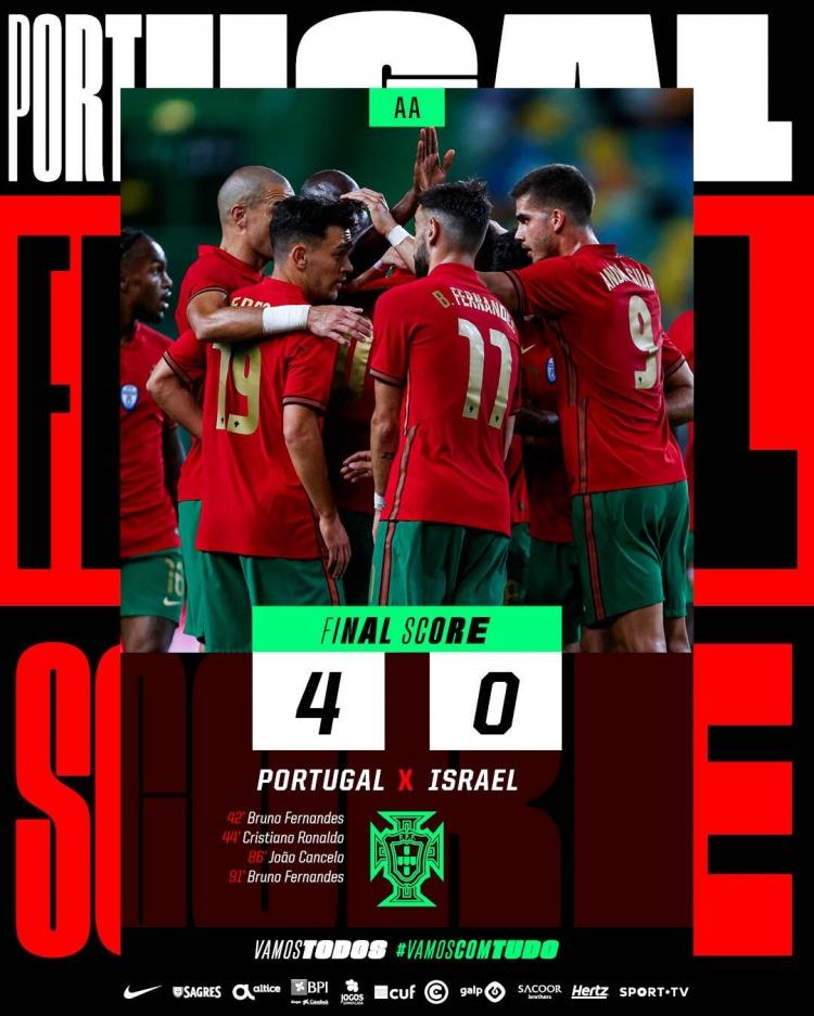 友谊赛-B费两射一传C罗坎塞洛建功 葡萄牙4-0击败以色列