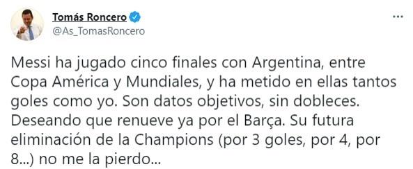 【蜗牛电竞】阿斯主编:梅西在国家队大赛五次进决赛,五场进球数和我一样