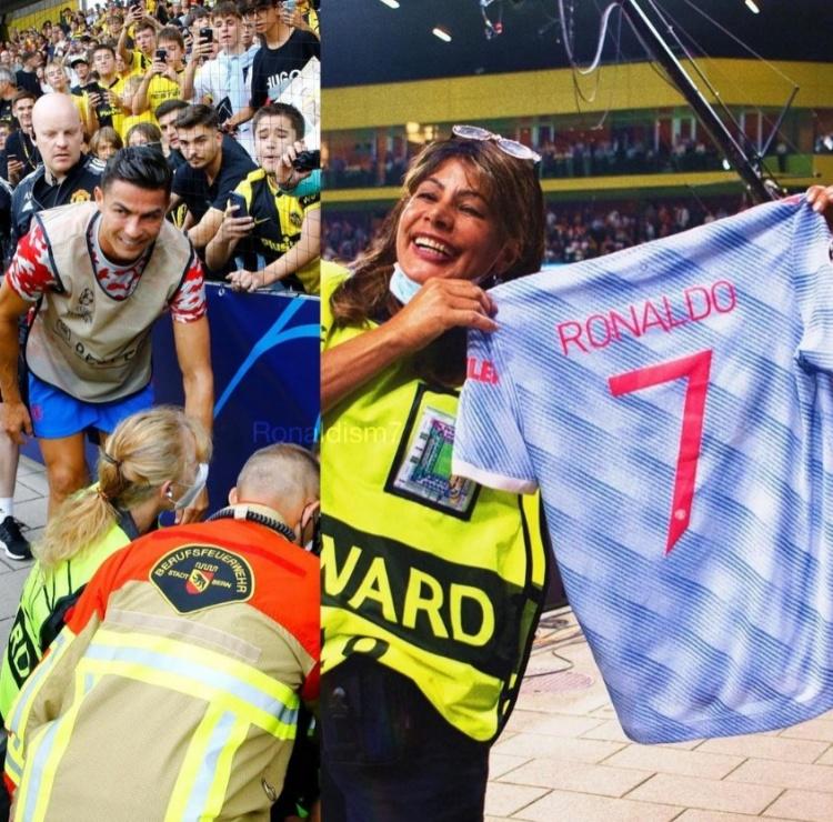 C罗误伤安保人员,为对方送上一件CR7曼联球衣