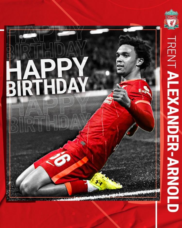 利物浦连发三条推文庆祝阿诺德23岁生日:追逐你的梦想