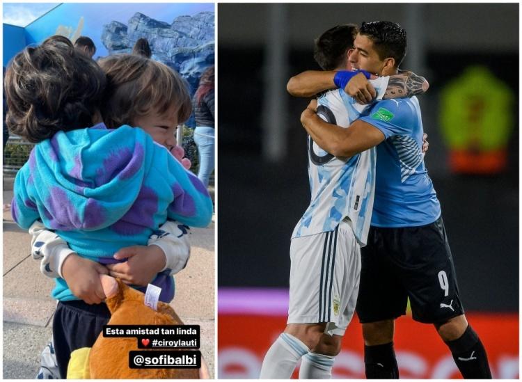 两代人的友谊❤️媒体将梅西苏牙以及两人儿子拥抱的照片拼在一起