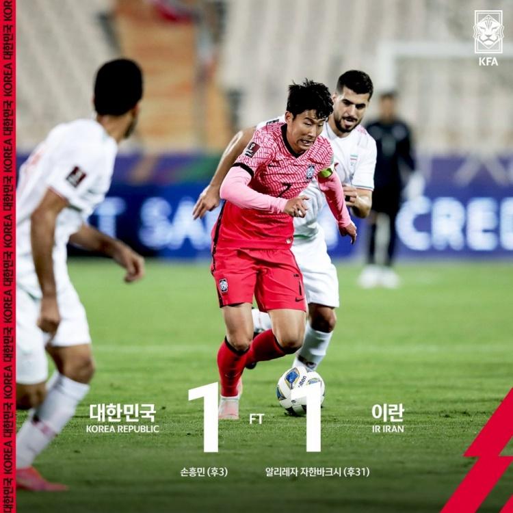 世亚预-孙兴慜单刀破门贾汉巴赫什扳平 伊朗1-1韩国连胜终结