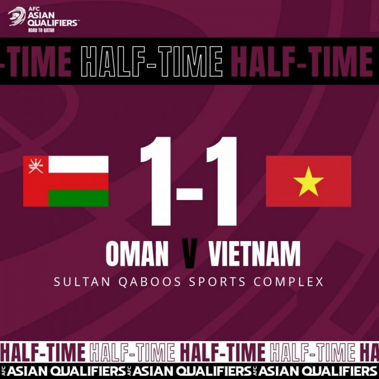 半场:越南暂1-1阿曼,阮进灵破门,阿尔萨比侧钩扳平法扎里失点