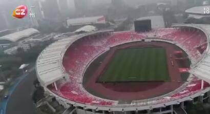 天河体育中心改造竣工,巨大红棉图案亮相