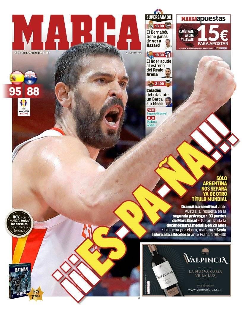 西甲今日头版:皇马巴萨今天出战 西班牙男篮进决赛