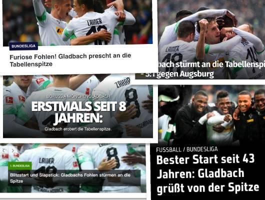 德甲今日头版:门兴八年来首度登顶 拜仁输球回到现实