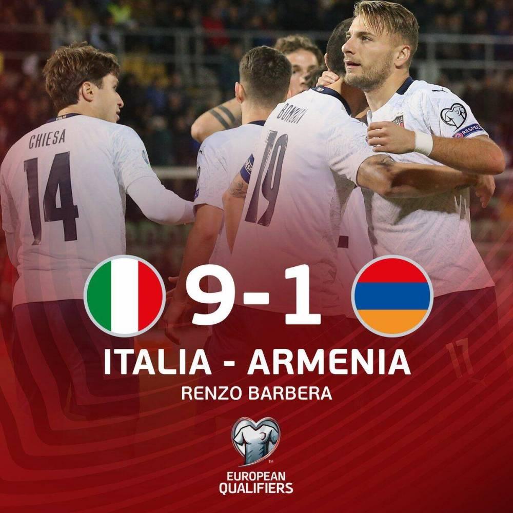 欧预赛-意大利9-1狂胜亚美尼亚,蓝衣军团七人破门扎尼奥洛双响