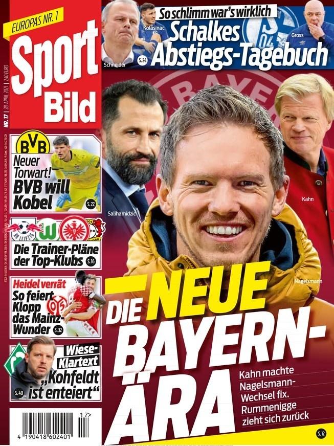 德甲今日头版:拜仁将开始新纪元 莱比锡敲定纳帅继任者