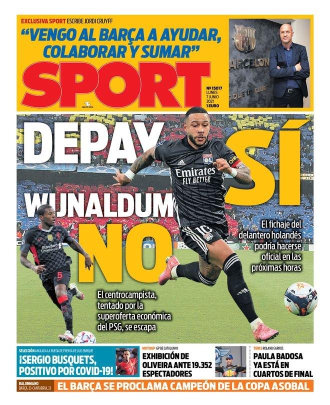 西甲今日头版:布斯克茨感染新冠 巴萨本周重点处理离队和降薪