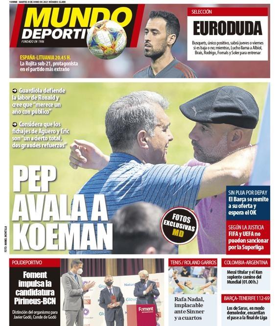 西甲今日头版:西班牙国家队准备打疫苗 巴萨想签一名巨星