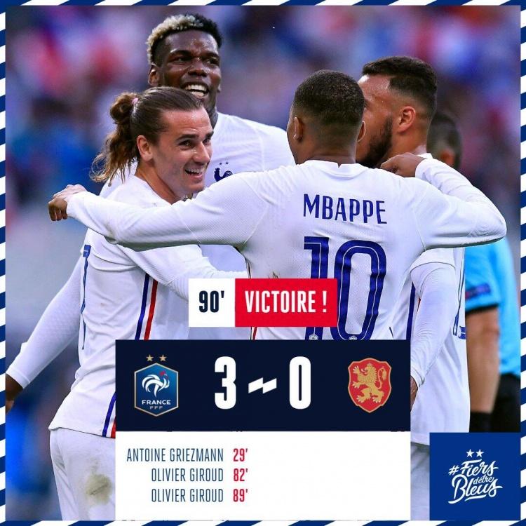 友谊赛-本泽马伤退格子倒钩吉鲁替补双响 法国3-0保加利亚