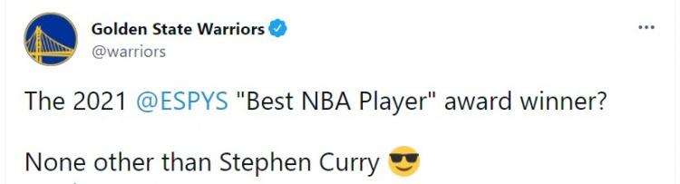 勇士官推:2021ESPY最佳NBA球员?舍库里其谁😎