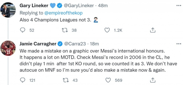 盘点梅西荣誉时数据出错,卡拉格回应莱因克尔批评:人总会犯错