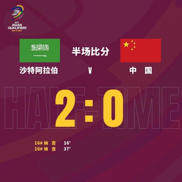 半场-武磊失单刀纳吉两球 国足客场0-2落后沙特
