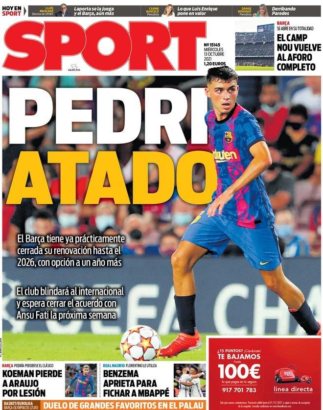 西甲今日头版:皇马依然可能签下博格巴 巴萨已和佩德里谈妥续约