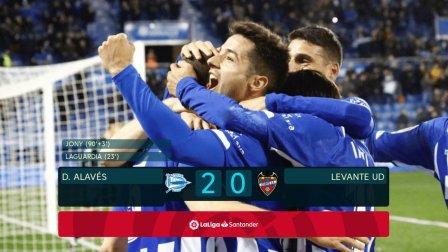西甲-拉瓜迪亚建功霍尼压哨破门 阿拉维斯2-0莱万特