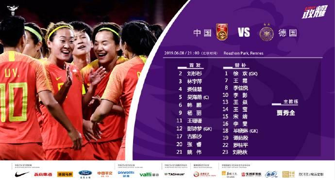 女足世界杯-中国vs德国首发:王珊珊出战,王霜替补