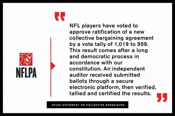 NFL通过新版劳资协议 比赛场次将从未来两个赛季开始增加