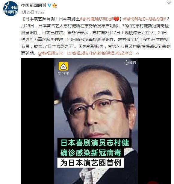 日本喜剧王志村健确诊新冠 日本演艺圈首例