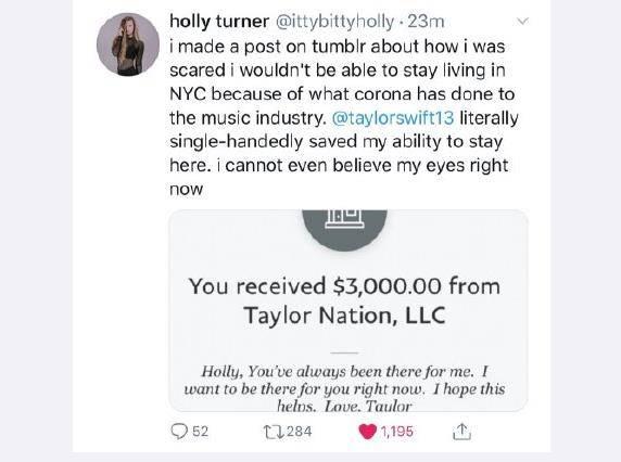 人美心善!霉霉向多位因疫情陷经济困境粉丝捐助3000美金