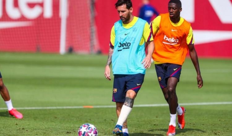 世体:梅西今日参加备战拜仁合练,左脚踝处缠有纱带