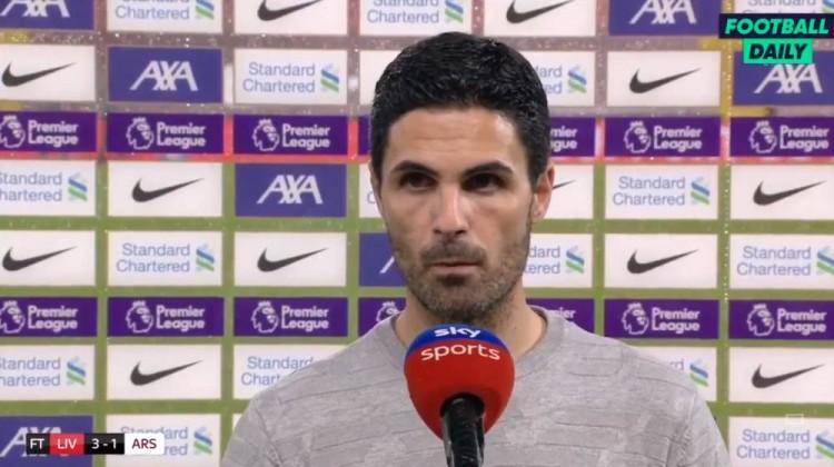 阿尔特塔:利物浦在许多方面都比我们强,球队还有很长的路要走