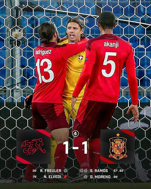 瑞士门将索默两次扑出拉莫斯的点球,协助球队主场1比1战平西班牙  
