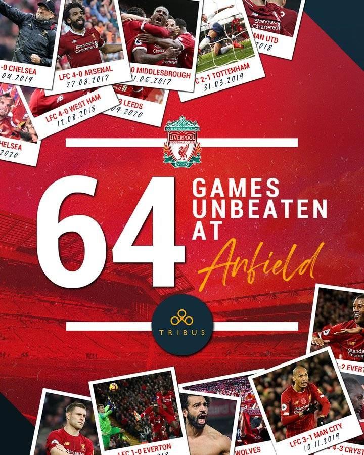 64场不败!利物浦发明沙龙前史上联赛主场连续不败新纪录