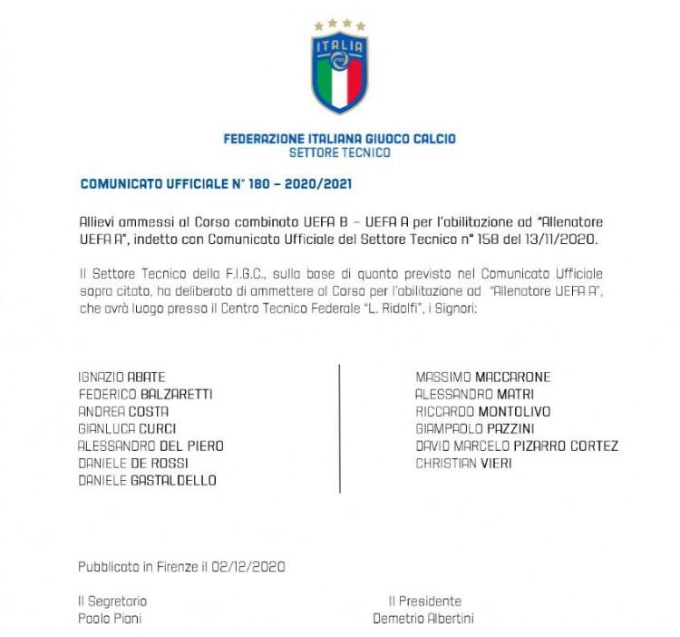 官方:德罗西皮耶罗维埃里等人参与欧足联A级教练课程