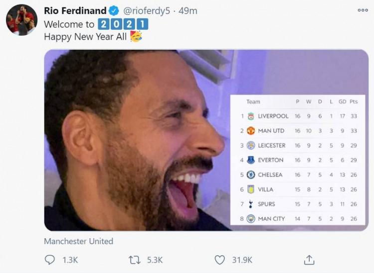 曼联积分追平榜首,费迪南德晒图庆祝:欢迎来到2021年!