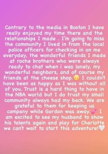 海沃德的妻子:我会怀念波士顿的社区生活,但是当地媒体不太好
