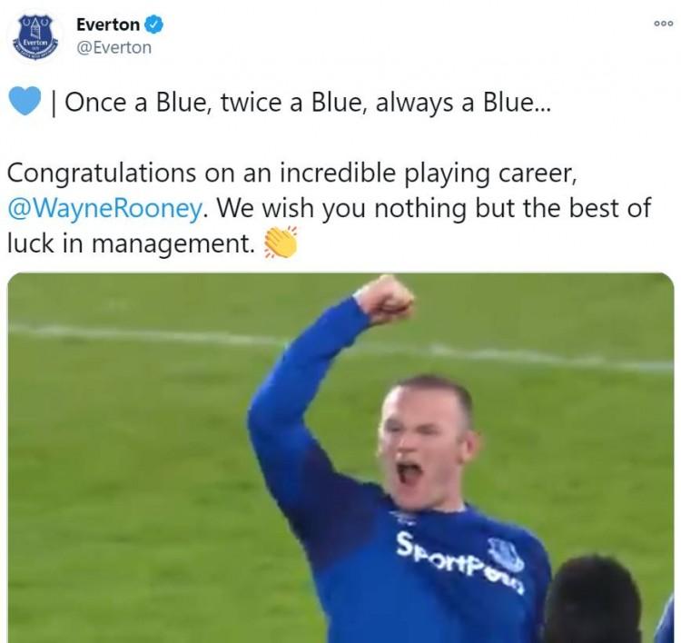 埃弗顿祝愿鲁尼:一日为蓝终身为蓝,祝你主帅生计一切顺利! 