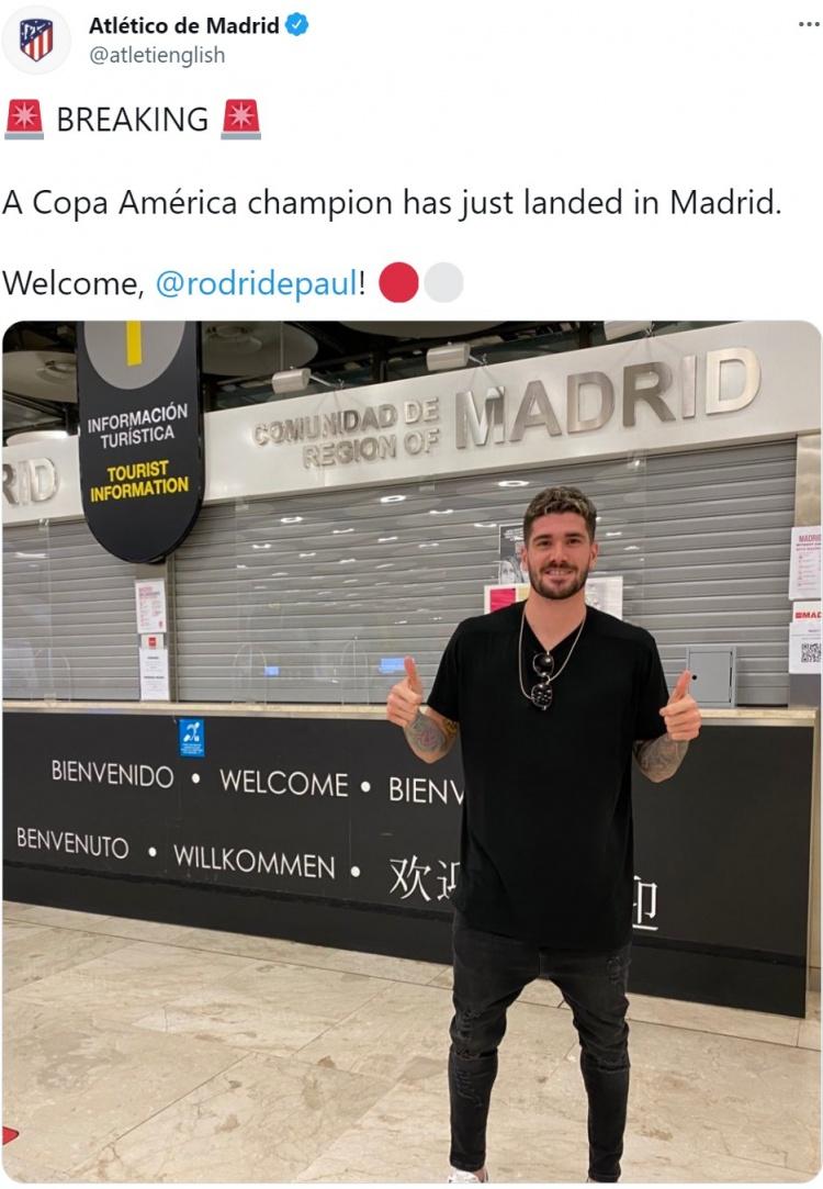 马竞官推:德保罗抵达马德里,欢迎!