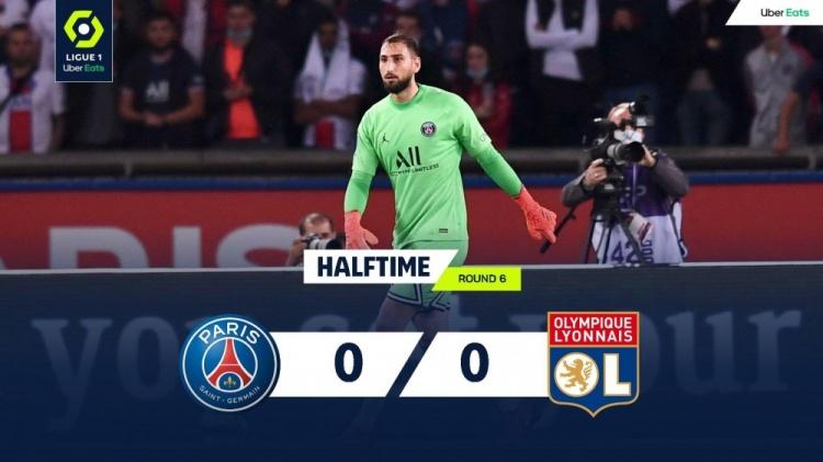 「法甲」半场-梅西任意球中框巴黎暂0-0里昂
